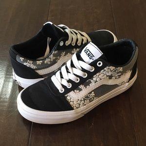 Vans Ward Girls' Flowers Skate Shoes Blk/Wht Lace